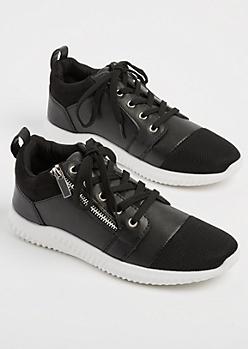 Black Zipper Low Top Sneakers