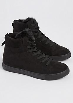 Black Faux Fur High Top Sneakers