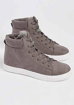 Gray Faux Fur High Top Sneakers