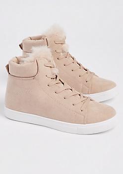 Pink Faux Fur High Top Sneakers