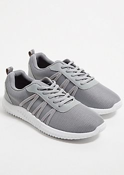 Gray Side Band Mesh Knit Trainers