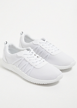 White Side Band Mesh Knit Trainers