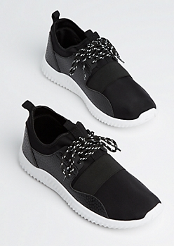 Black Elastic Band Trainers