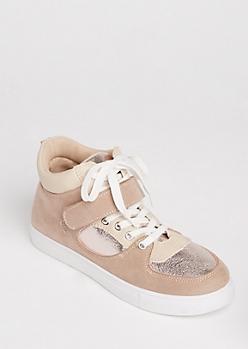 Pink Metallic & Velour High Top Sneakers