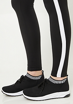 Black Striped Mesh Sneakers