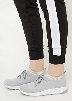 Gray Striped Mesh Sneakers