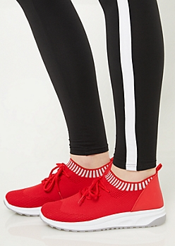 Red Striped Mesh Sneakers