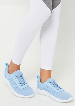 Light Blue Mesh Low Top Trainers