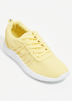 Yellow Mesh Low Top Trainers