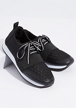 Black Elastic Band Lace Up Sneakers