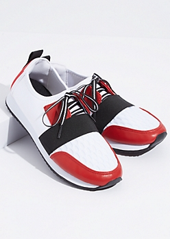 Red Elastic Band Lace Up Sneakers