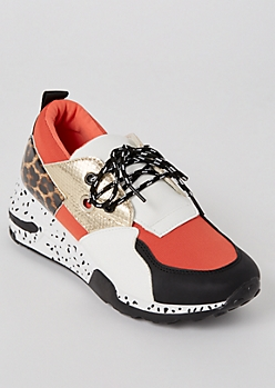 Coral Animal Print Colorblock Dad Sneakers