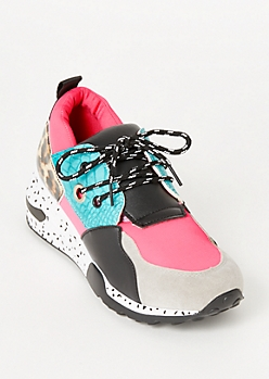 Neon Fuchsia Animal Print Colorblock Dad Sneakers