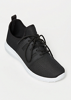 Black Side Band Knit Trainers