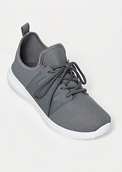 Gray Side Band Knit Trainers