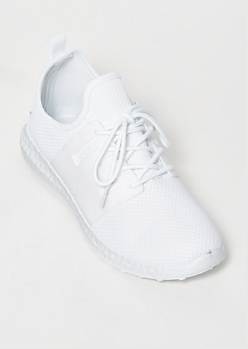 White Side Band Knit Trainers