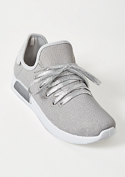 Gray Glitter Metallic Lace Up Sneakers