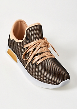 Gold Glitter Metallic Lace Up Sneakers