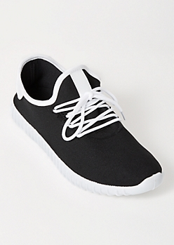 White Tab Lace Up Trainers