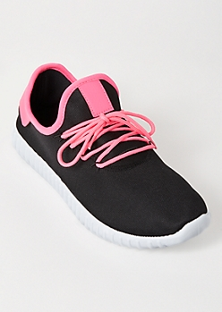 Neon Fuchsia Tab Lace Up Trainers