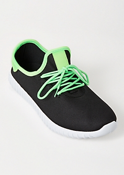 Neon Green Tab Lace Up Trainers