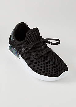 Black Mesh Knit Metallic Trainers