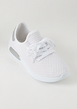 White Mesh Knit Metallic Trainers