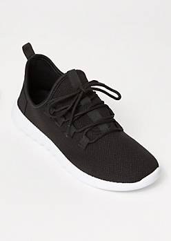 Black Lace Up Back Tab Trainers