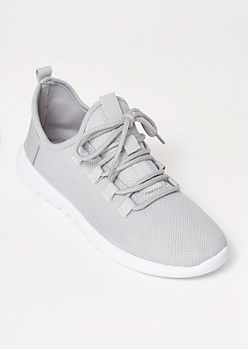 Gray Lace Up Back Tab Trainers