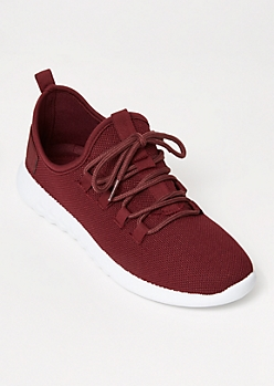 Burgundy Lace Up Back Tab Trainers