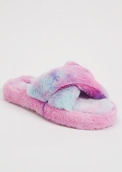 Purple Tie Dye Faux Fur X Band Slippers