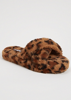 Leopard Print Pink Faux Fur X Band Slippers