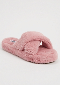 Dusty Pink Faux Fur X Band Slippers