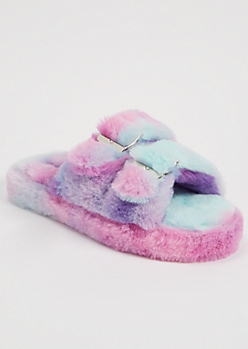 Purple Tie Dye Faux Fur Double Buckle Slippers