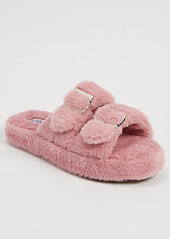 Dusty Pink Faux Fur Double Buckle Slippers