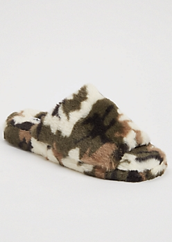 Camo Print Faux Fur Single Band Slippers