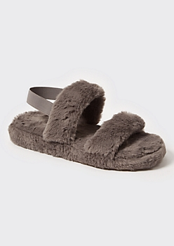 Gray Faux Fur Double Strap Slippers