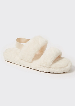 Ivory Faux Fur Double Strap Slippers