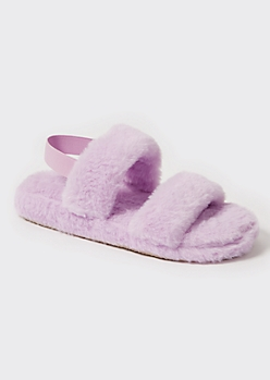 Lavender Faux Fur Double Strap Slippers