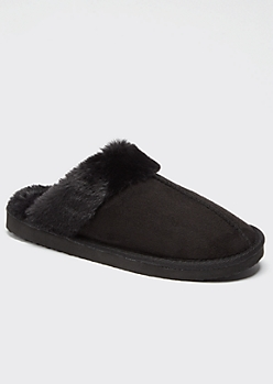 Black Faux Fur Lined Cozy Slippers