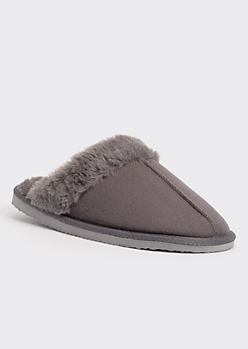 Gray Faux Fur Lined Cozy Slippers