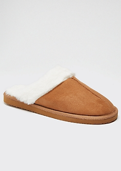 Camel Faux Fur Lined Cozy Slippers