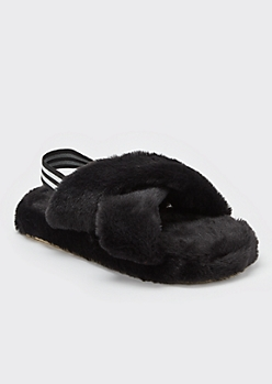 Black Fuzzy Crisscross Band Slingback Slippers