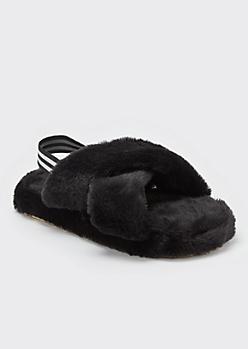 Black Fuzzy Crisscross Band Slingback Slippers