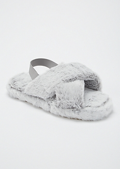 Gray Fuzzy Crisscross Band Slingback Slippers