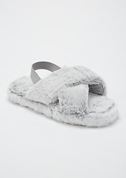 Gray Fuzzy Crisscross Band Slingback Slippers
