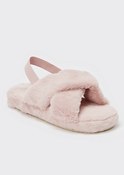 Pink Fuzzy Crisscross Band Slingback Slippers