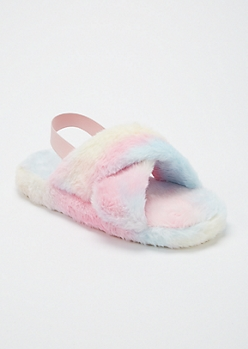 Cotton Candy Fuzzy Crisscross Band Slingback Slippers