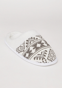 Gray Isle Print Slippers