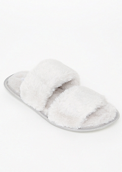 Gray Fluffy Strap Slippers